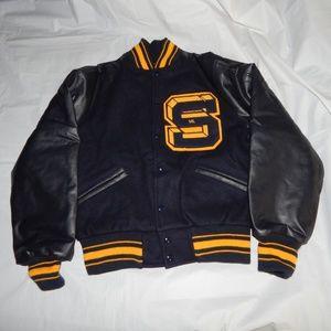 varsity letterman jacket size medium Navy & yellow